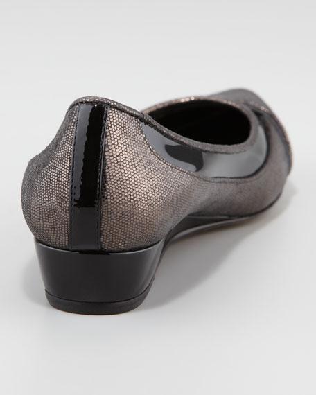 Nerina Metallic Suede Wedge, Black
