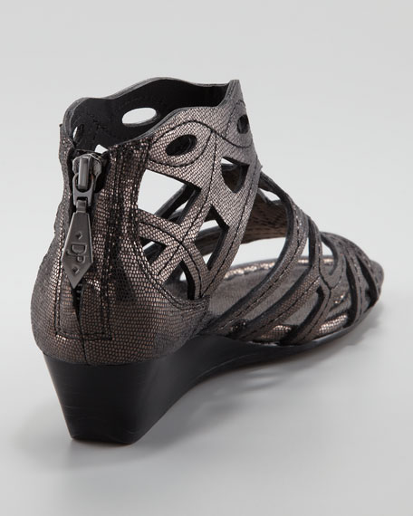 Delite Metallic Cutout Low Wedge Sandal, Black/Pewter