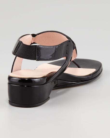 Kiara Low-Wedge Thong Sandal, Black