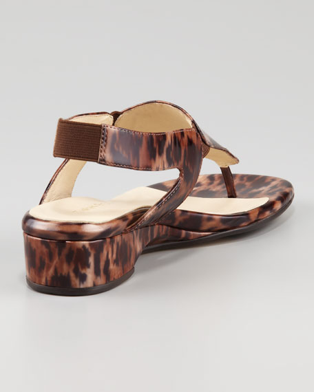 Kiara Low-Wedge Thong Sandal, Leopard
