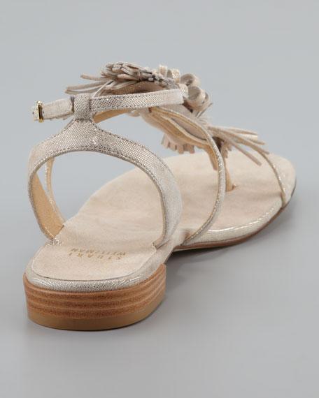 Feisty Shimmery Suede Fringe Sandal