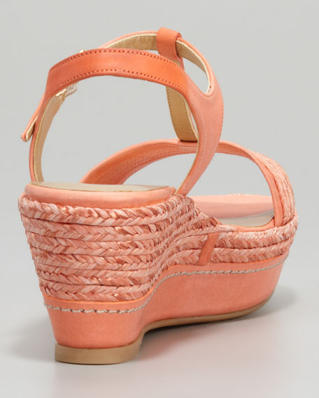 Flatty Raffia Braided Wedge Sandal, Peach