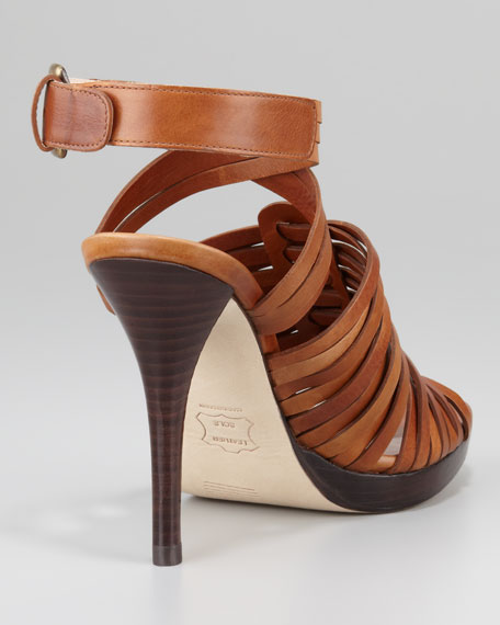 Arriba Huarache Strappy Sandal, Saddle