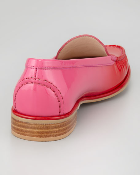 Mach2 Ombre Patent-Leather Loafer, Red/Pink