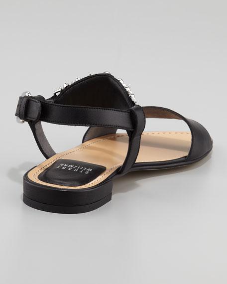 Bars Ankle-Ornament Flat Sandal