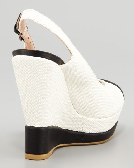 Roundher Canvas Wedge Slingback, Ecru