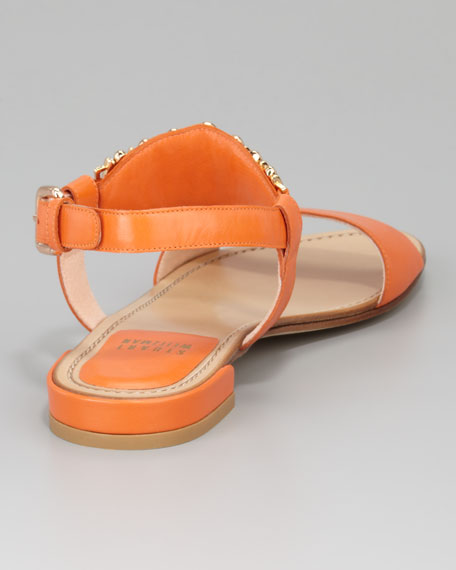 Bars Ankle Horn Flat Sandal, Orange
