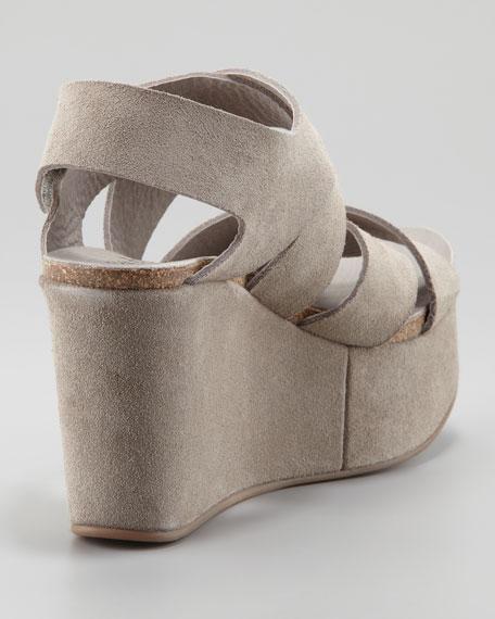 Delsie Suede Crisscross Wedge Sandal, Pumice