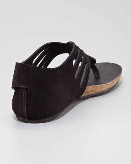 Jules Suede Cutout Thong Sandal, Black