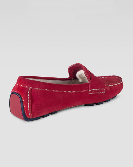 Sadie Shearling-Lined Driver, Tango Red