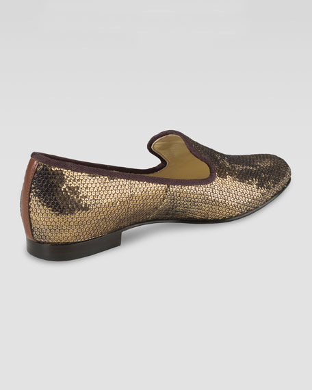 Sabrina Sequin Smoking Slipper, Bronze
