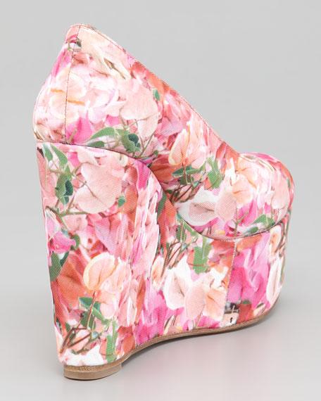 Digital Floral-Print Wedge