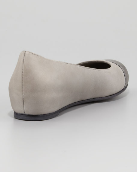 Cap-Toe Internal-Wedge Ballerina Flat, Silver