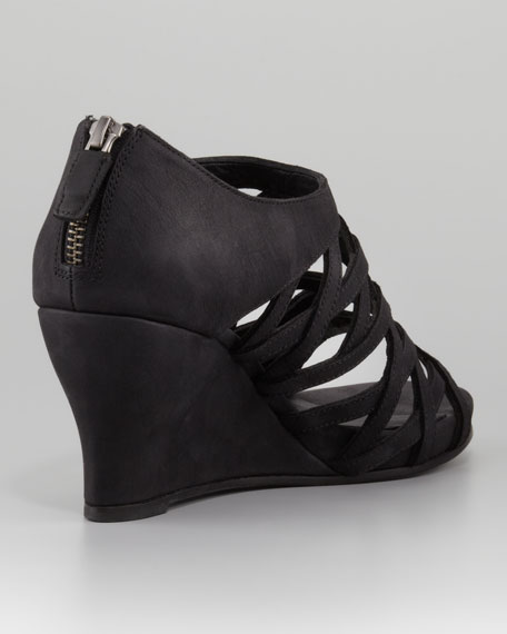Caged Wedge Back-Zip Sandal
