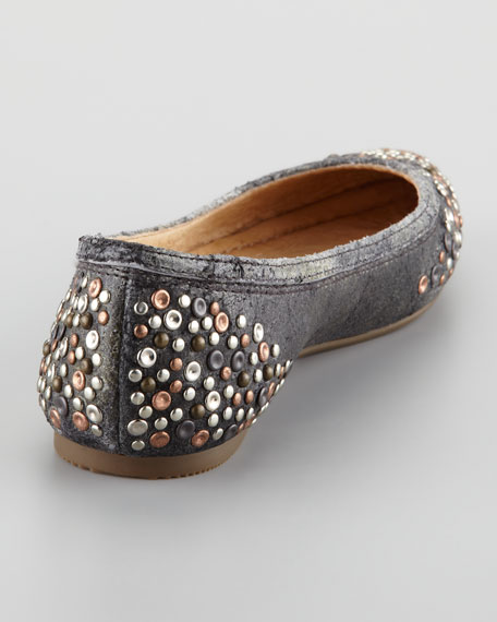 Regina Studded Leather Skimmer Flat