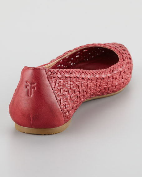 Regina Woven Leather Skimmer Flat, Burnt Red