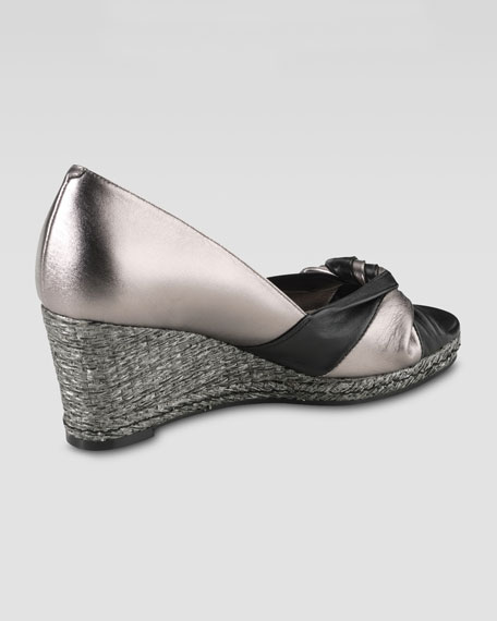 Ava Open-Toe Wedge Pump, Gunsmoke