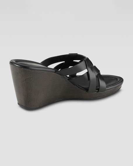 Bonnie Strappy Wedge Thong Sandal, Black