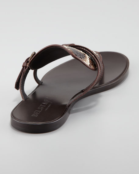 Flat Python-Leather Thong Sandal, Dusty Brown