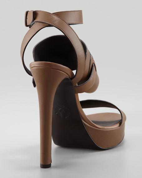 Ankle-Wrap Leather Sandal, Tan
