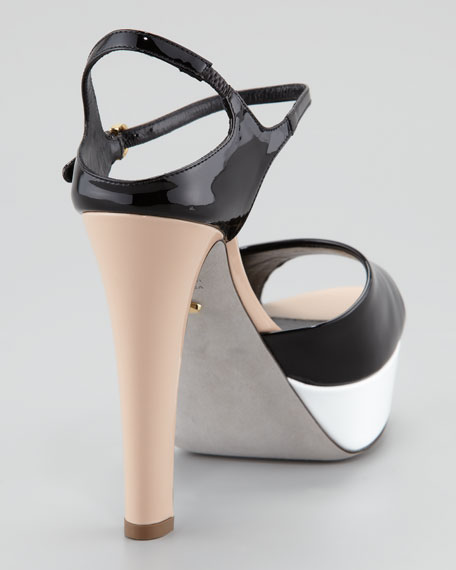 Colorblock Patent Leather Platform Sandal