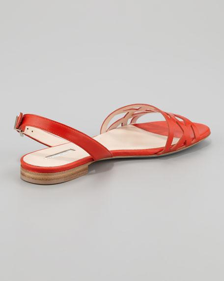 Geometric Halter Flat Sandal, Orange
