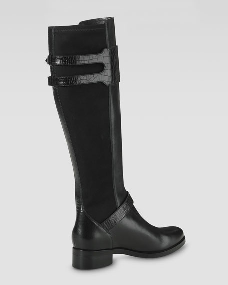 Tenley Back-Stretch Knee Boot, Black