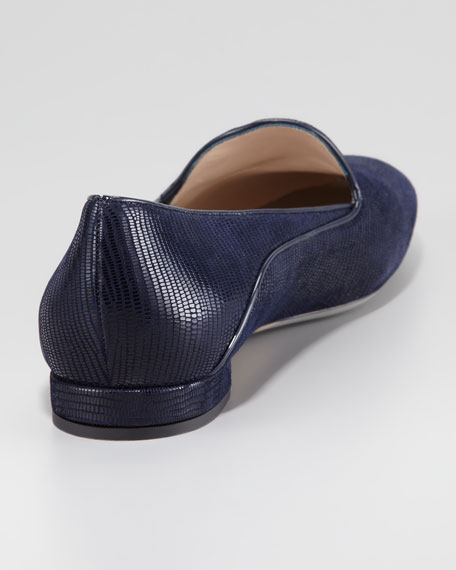 Lizard-Embossed Belgian Loafer, Blue
