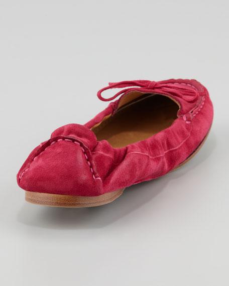 Suede Scrunch-Collar Flat, Hot Pink
