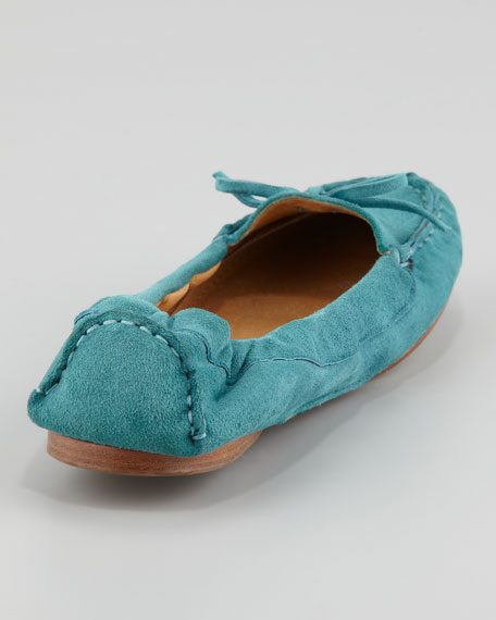 Suede Scrunch-Collar Flat, Turquoise