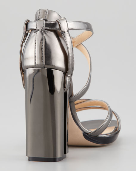 Metallic Crisscross Illusion-Heel Sandal, Gray