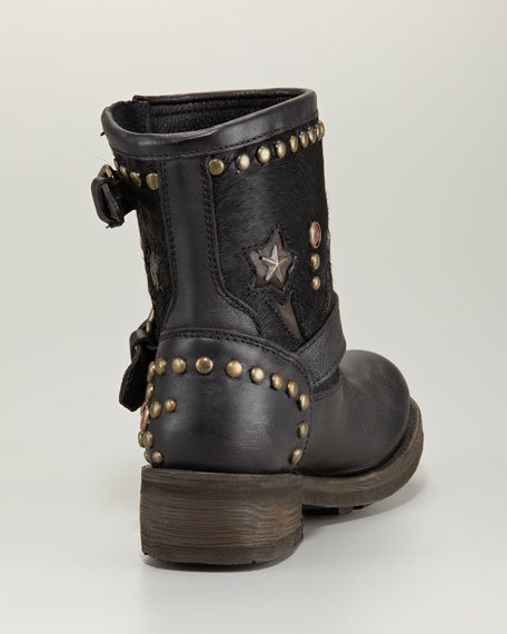 Terrific Studded Calf Hair Motorcycle Boot