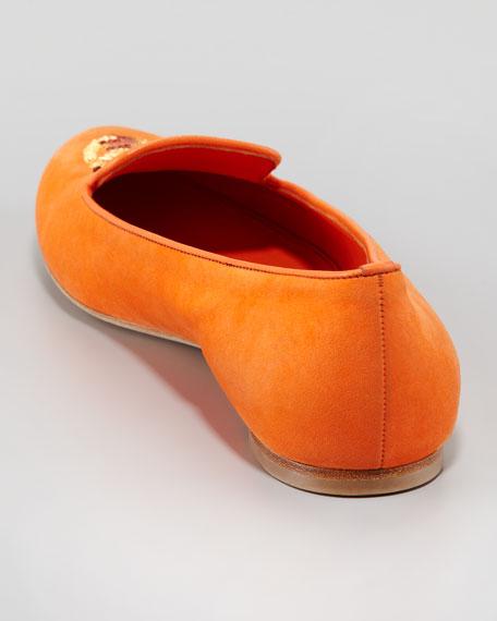 Skull-Vamp Suede Belgian Loafer, Orange