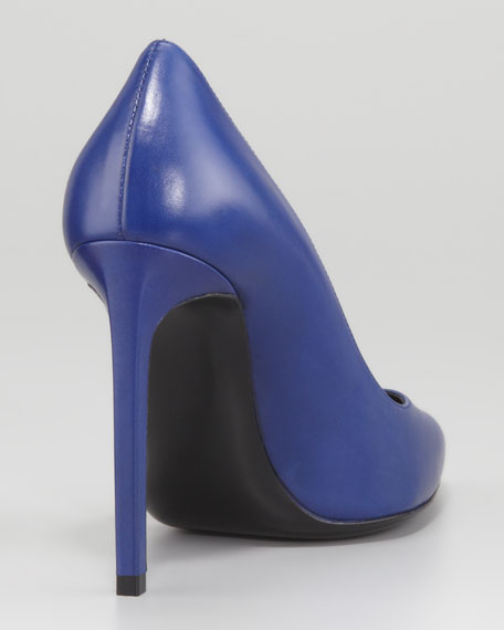 Paris Pointed-Toe Calfskin Pump, Blue