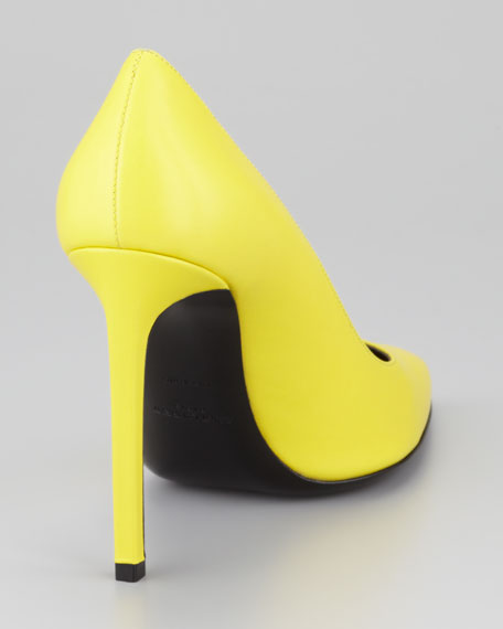 Paris Pointed-Toe Calfskin Pump, Citron