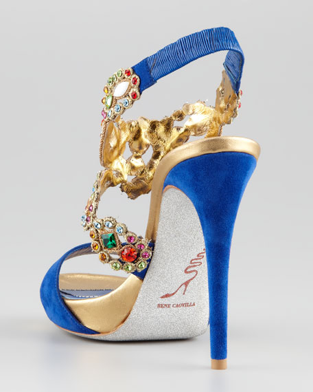 Jeweled Ankle-Wrap Platform Sandal