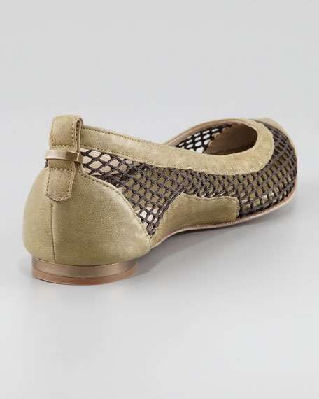 Mesh & Leather Ballerina Flat, Moss