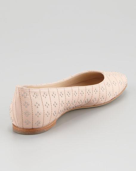 Studded Ballerina Flat, Nude