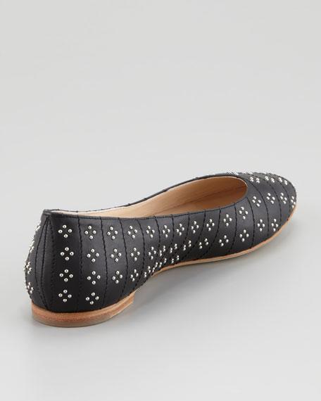 Studded Ballerina Flat, Black