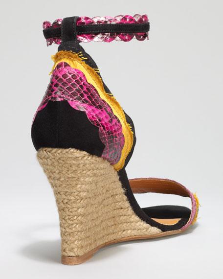 Scalloped Snakeskin Espadrille Wedge Sandal