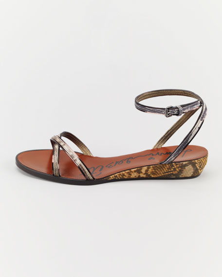 Snake-Printed Cork Wedge Sandal