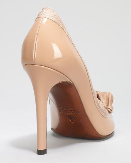 Grosgrain-Trimmed Patent Peep-Toe Pump, Nude