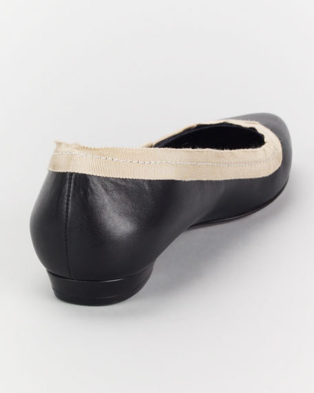 Pointed-Toe Calfskin Ballerina Flat, Black