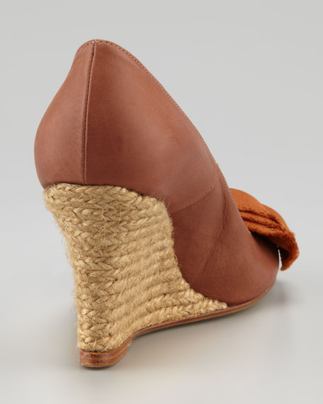 Bow-Toe Espadrille Wedge