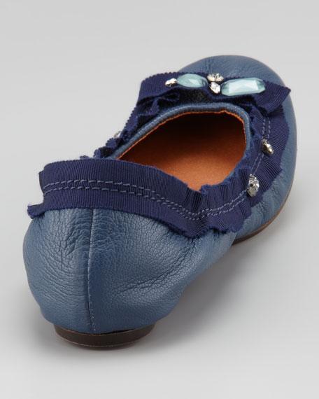Jeweled Ballerina Flat, Blue