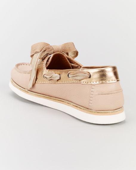 Metallic-Trimmed Boat Shoe, Rose