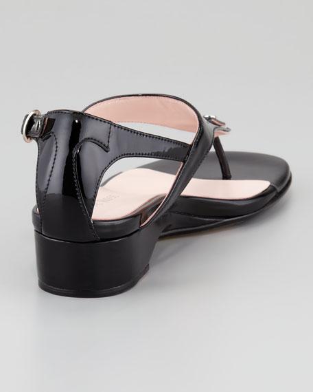 Kat Patent Low-Wedge Thong Sandal, Black