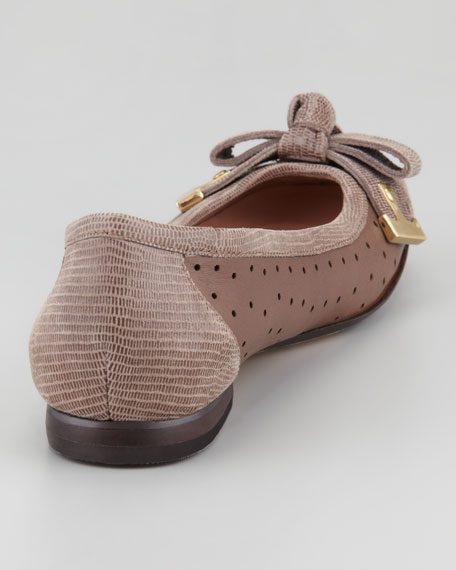 Buzz Perforated Bow Toe Ballerina Flat, Taupe