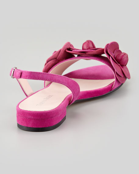 Ida Floral-Detail Slingback Sandal, Magenta