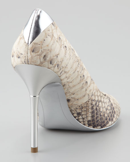 Reagan Snake-Print Metallic Pump